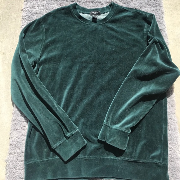 Velour Emerald Green Crewneck